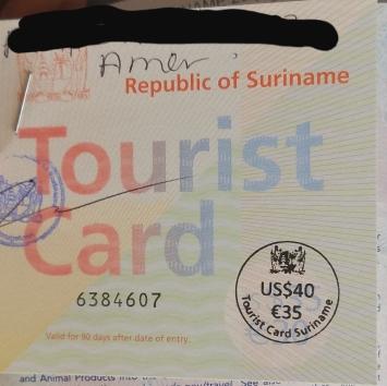 Surinamese Tourist Card