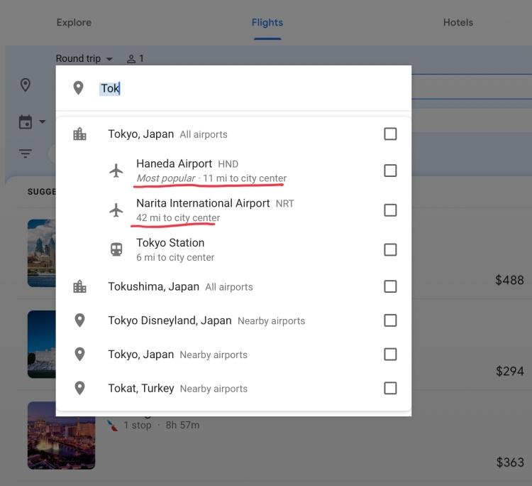 Google Flights Screenshot of Tokyo Airports