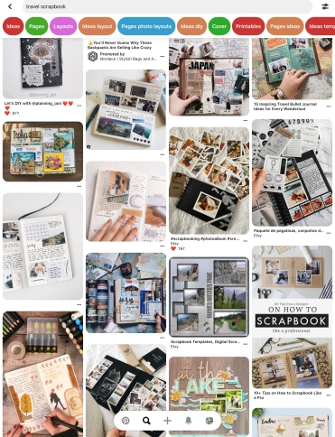 Screenshot of scrapbook ideas from Pinterest